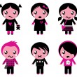 Cute emo kids collection isolated on white — Stock Vector #8720159