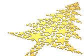 Vánoční strom z zlatých hvězd — Stock fotografie