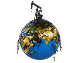 Bomba jack y aceite derraman sobre el planeta tierra — Foto de Stock