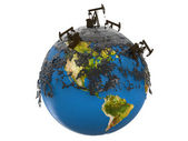 Pump jacks and oil spill over planet earth — Stock Photo