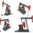 Pump jacks isolated on white background — Stok fotoğraf