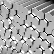 Stock Photo: Shiny hexagon metal bars background