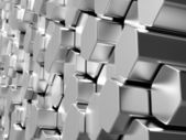 Shiny hexagon metal bars background — Stock Photo