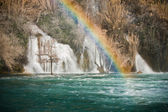 Rainbow on Krka waterfall — Stock Photo