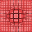 Stock Photo: Op art red sphere pattern