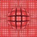 Op art red sphere pattern — Stock Photo