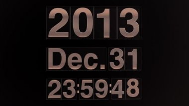 New year 2014 mechanical count down timer with time and date — Stock Video