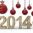 Golden 2014 with Christmas balls — Foto de Stock