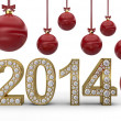 Golden 2014 with Christmas balls — Stock Photo