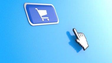 Hand mouse pointer click on shopping cart button — Vídeo de stock
