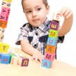 Child building a tower — Stock Photo