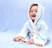 Happy baby after bath — Stock Photo
