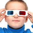 Stock Photo: boy wearing 3d glasses