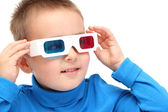 Boy watching with 3d glasses — Stock Photo