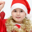 Little child with santa hat — Stock Photo
