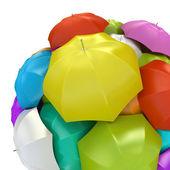 Colorful umbrellas in sphere 3D rendering — Stock Photo