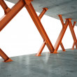Beams and concrete structure 3D rendering — Stock Photo