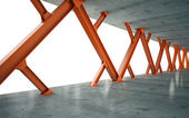 Beams and concrete structure 3D rendering — Stockfoto