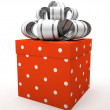 Red gift box with bow isolated on white backgroung — Stock Photo