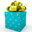 Blue gift box with yellow bow isolated on white backgroung — Stock Photo