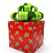 Pattern gift box with green bow isolated on white backgroung — Stock Photo #14145138