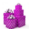 Violet gift boxes isolated on white backgroung — Stock Photo