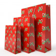 Christmas carrier paper bags isolated on white background illust — Stock Photo