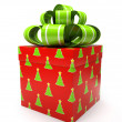 Pattern gift box with bow isolated on white backgroung — Stock Photo