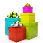 Цвет подарочные коробки изолирован на белом backgroung — Стоковое фото