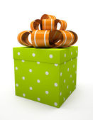 Green gift box with orange bow isolated on white backgroung — Stock Photo
