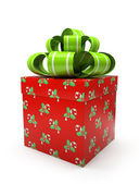 Pattern gift box with green bow isolated on white backgroung — Stock Photo