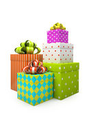 Color gift boxes isolated on white backgroung — Stock Photo