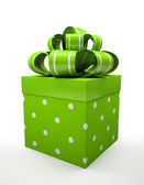 Green gift box with green bow isolated on white backgroung — Stock Photo