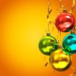 Multicolored christmas balls isolated on orange background illus — Stock Photo