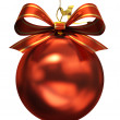 Red christmas ball isolated on white background illustration — Photo