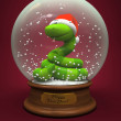 Snake in the snow globe - symbol of New Year - Stock Photo
