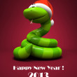 Snake isolated on red backround- symbol of New Year illustration - Stock Photo