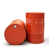 Red Metal barrels isolated on white background illustration — Stock Photo