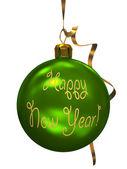 Green christmas ball isolated on white background illustration — Stock Photo