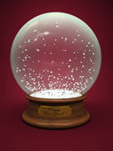 Empty snow globe isolated on red background — Stock Photo