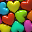 Multicolored hearts isolated on background - Stock Photo