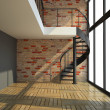 Empty room with staircase in waiting for tenants illustration - Stock Photo