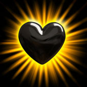 Black heart in the rays of light — Stock Photo