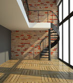 Empty room with staircase in waiting for tenants illustration — Stock Photo