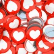 Buttons with white hearts isolated on background — Stock Photo