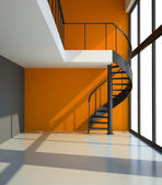 Empty room with staircase and orange wall — Stock Photo