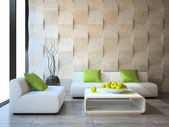 Modern interior with concrete wall panels — Stock Photo