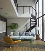 Modern loft interior — Stock Photo
