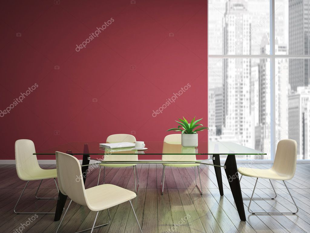 Eetkamer met donkerrood muren — Stockfoto © hemul75 #23150994