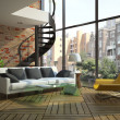 Stock Photo: Modern loft interior with part of second floor